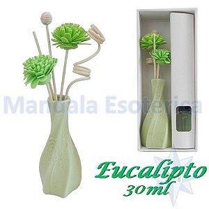 Aromatizador com flor e varetas com perfume de Eucalipto