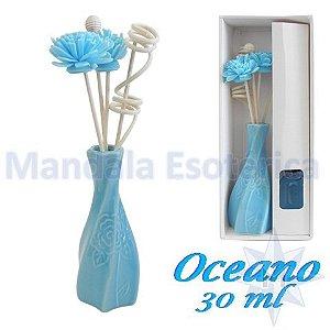Aromatizador com flor e varetas com perfume de Oceano