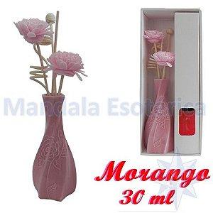 Aromatizador com flor e varetas com perfume de Morango