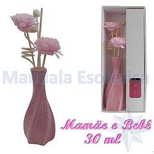 Aromatizador com flor e varetas com perfume Mamãe e Bebê