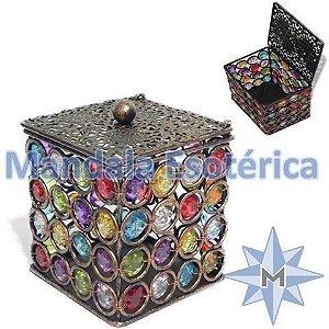 Porta velas de metal caixinha cor bronze com miçangas coloridas
