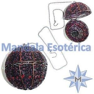 Porta Vela Suspenso bola de metal com miçanga Preto com Vermelho