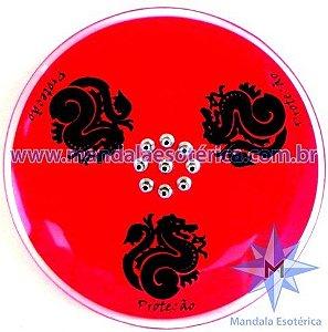 Incensário 9 pontos dragão prato vermelho
