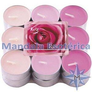 Vela T'Light Aroma Rosa com 18 Unidades