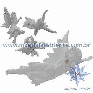 FADA DEITADA EM RESINA BRANCA - AR-67326