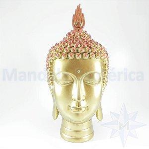 Cabeça de Buda Dourada e vermelho