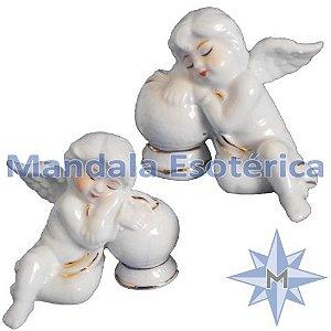Conjunto com 2 Anjos Dormindo na Bola em Porcelana