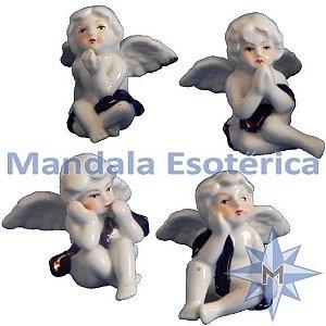 Conjunto com 4 Anjos sentados manto em porcelana