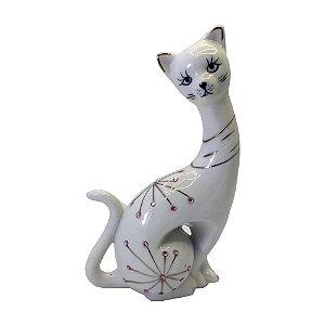 Gato Grande Sentado em Porcelana