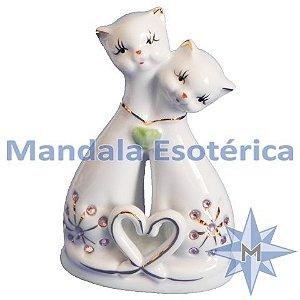 Casal de Gatos em Porcelana
