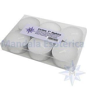 Vela T-Light Branca Mandala Esotérica com 6 unidades