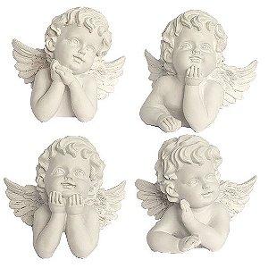 Conjunto de Anjo Branco 4 Unidades
