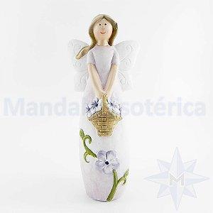 Fadinha do Natal em Cerâmica Lilas com Flores