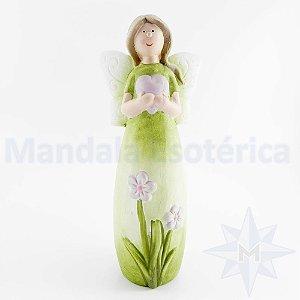 Fadinha do Natal em Cerâmica Verde com Coração