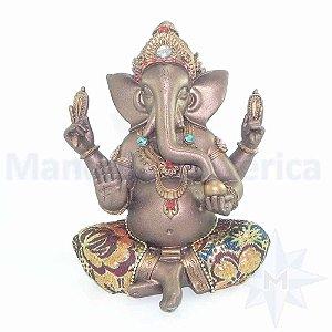 Ganesha de resina com tecido indiano