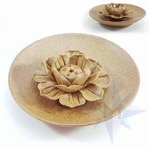 Incensário Prato Porcelana Flor de Lótus Areia B