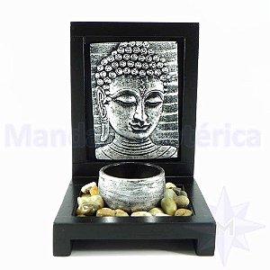 Porta vela com pedras Placa Buda prata