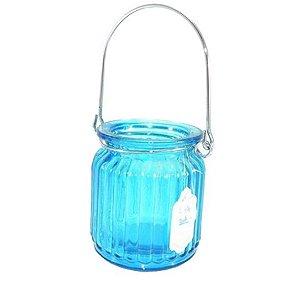 Porta velas de Vidro Ocean Azul