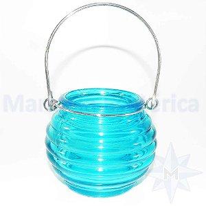 Porta Velas de Vidro Colmeia Azul
