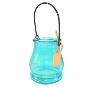 Porta velas de Vidro Azul