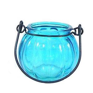 Porta velas de Vidro Moranga Azul