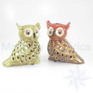 Porta Velas casal de corujas em Cerâmica