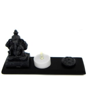 Porta vela Ganesha e OM com vela de LED