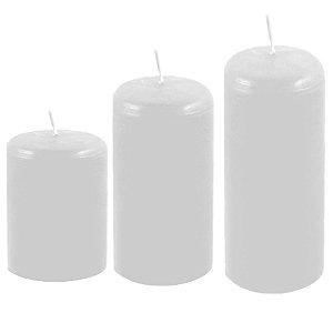 Kit com 3 velas decoração Branca