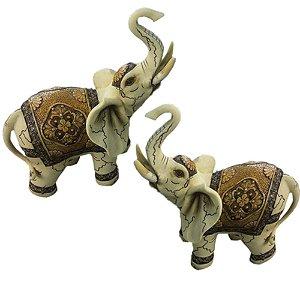 Conjunto com 2 Elefantes creme ralhado