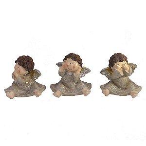 Conjunto com 3 anjos: Não fala, não ouve, não vê