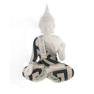Buda branco com tecido- Meditação