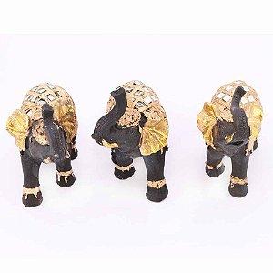 Kit com 3 elefantes dourados