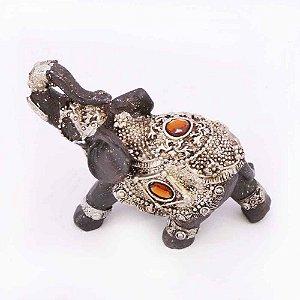 Elefante marrom com prata Pequeno