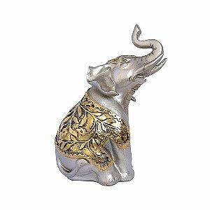 Elefante Sentado Manto Dourado