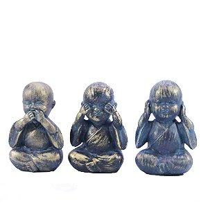 """Kit 3 Budas Sabedoria """"Ouve, fala, vê"""" - Ouro Velho"""