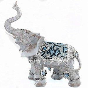 Elefante em Resina com detalhes em azul