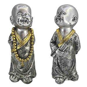 Monge Mantra em resina - Prata com Dourado