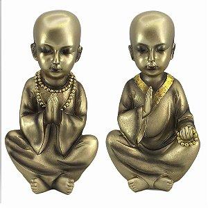 Monge Mantra Dourado em Resina