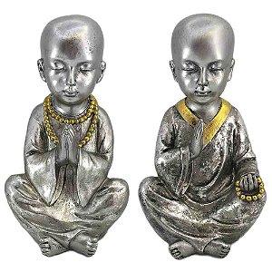 Monge Prata em Resina com Detalhe Dourado