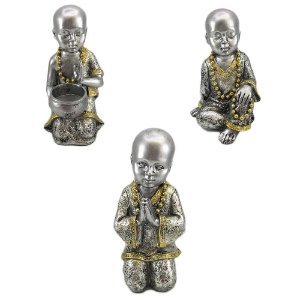 Buda em Resina Prata