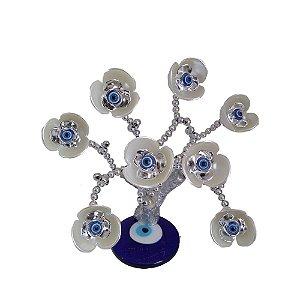 Arvore Prateada com Base de Olho Grego e Flores Brancas