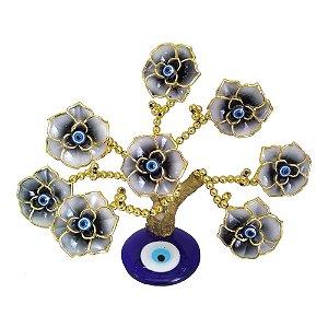 Arvore Dourada com Base de Olho Grego e Flores Pretas