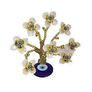 Árvore Dourada com Base de Olho Grego e Flores Brancas