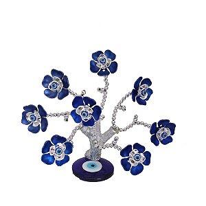 Arvore Prateada com Base de Olho Grego e Flores Azuis