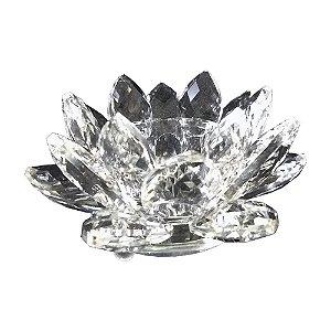 Porta Velas Flor de Lótus Cristal