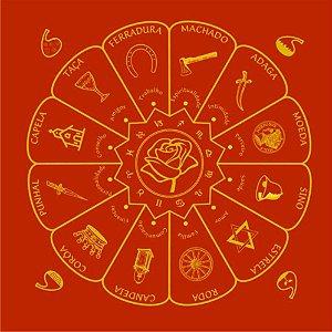 Toalha Cigana Vermelha desenho Ouro 2000