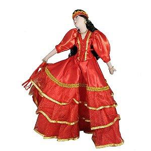 Cigana de Cerâmica com a roupa Vermelha