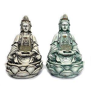 Fonte Kuan Yin Com Flor de Lótus