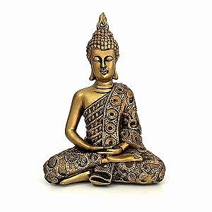 Buda Tibetano Dourado Meditando
