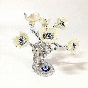 Árvore Prata Flores Brancas com Elefante e Olho Grego